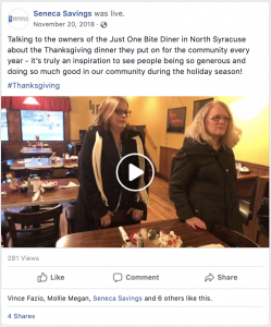 just 1 bite thanksgiving diner donation seneca savings facebook