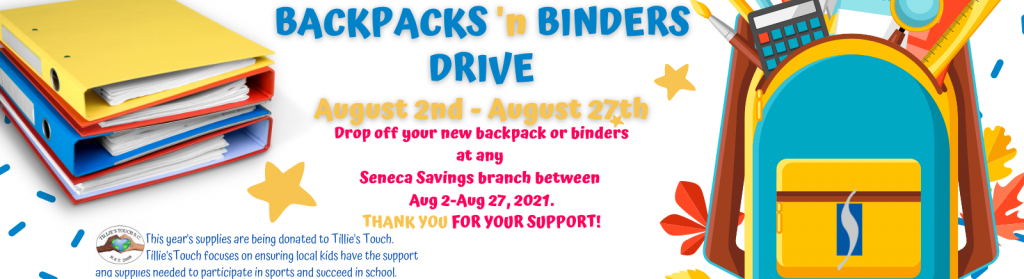 seneca savings backpack drive